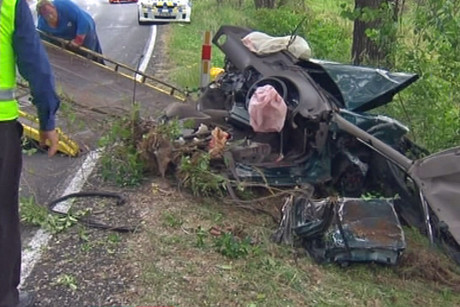 The wrecked car in which five family members died