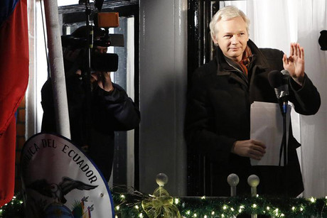WikiLeaks founder Julian Assange on the balcony of Ecuador's Embassy in London (Reuters)