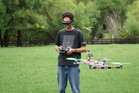 Michael Thomson with his homemade quadcopter
