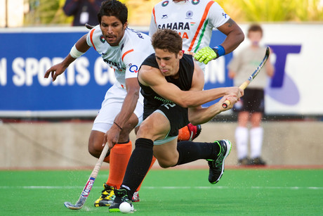 Nick Wilson strikes on goal during the FIH Champions Trophy hockey match between India and New Zealand (Photosport)