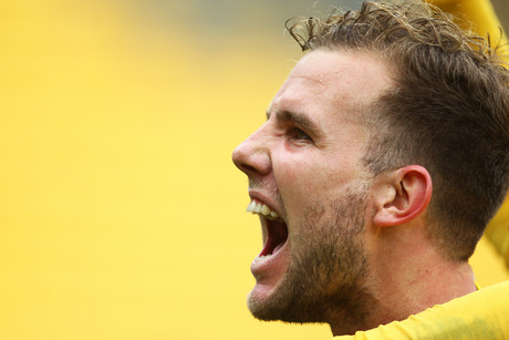 Phoenix's Jeremy Brockie reacts after scoring what turned out to be the match winner (Photosport)