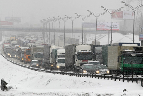 The snow caused severe traffic jams in Moscow (AAP)