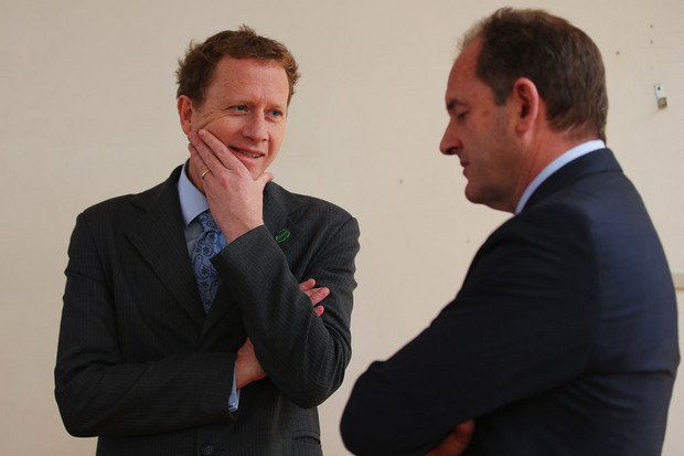 Greens co-leader Russel Norman and Labour leader David Shearer (Getty)