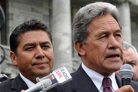 Brendan Horan and NZ First leader Winston Peters (AAP)