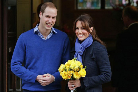Catherine leaves the King Edward VII Hospital with her husband, Prince William  (Reuters)