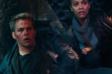Chris Pine and Zoe Saldana in Star Trek Into Darkness