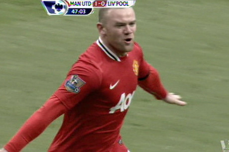 Wayne Rooney celebrates goal number one
