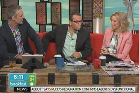 Paul Henry with his co-hosts on Breakfast