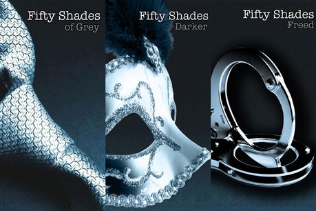 Cover art of the three Fifty Shades novels