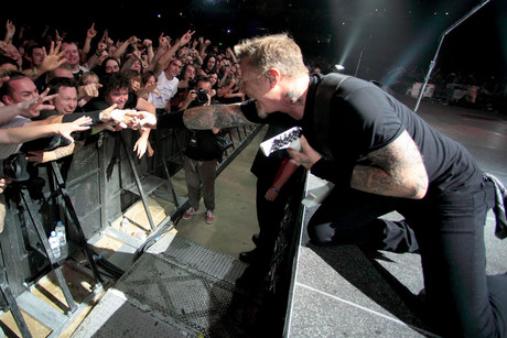 Metallica frontman James Hetfield performing in Adelaide in 2010