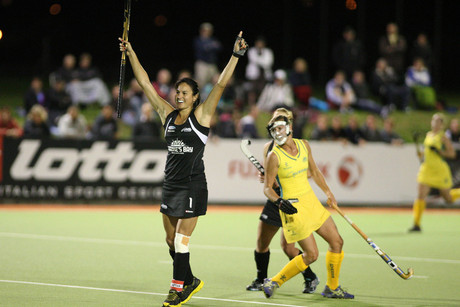 Kayla Sharland celebrates a Black Sticks goal (Photosport)