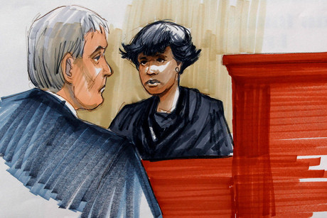 Jennifer Hudson in a courtroom sketch during her testimony in the case of William Balfour (Reuters)