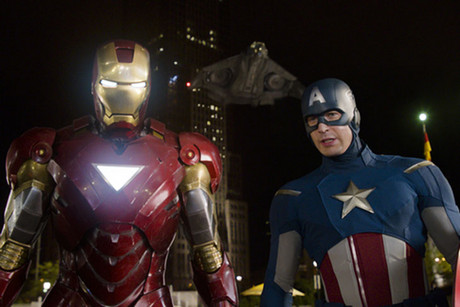 Iron Man and Captain America in The Avengers