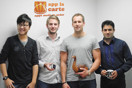 App La Carte team members (from left) Jay Moon, Isaac Banks, Andrew Malcolm, and Rohan de Souza