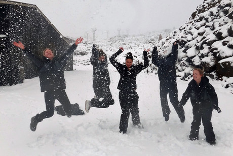 Staff at Mt Ruapehu enjoy the fresh dumping of snow (photo: supplied)