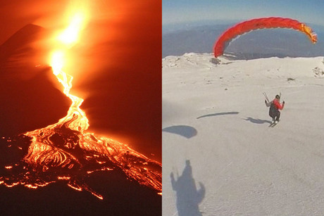 A combination picture of Mount Etna erupting in late April and one of the men speed flying down the volcano's slopes (AAP/Reuters)