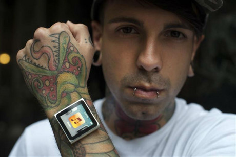 Dave Hurban, with his iPod Nano attachment (Reuters)