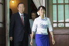 Myanmar's pro-democracy leader Aung San Suu Kyi (R) and United Nations Secretary-General Ban Ki-moon (Reuters)