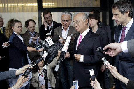 IAEA director General Yukiya Amano briefs the media after his trip to Tehran (Reuters)