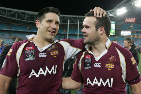 Steve Price and Nate Miles celebrate winning State of Origin 2008 (AAP)