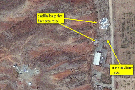 Imagery from May 25, 2012 showing the razing of two small support buildings (Digital Globe - ISIS)