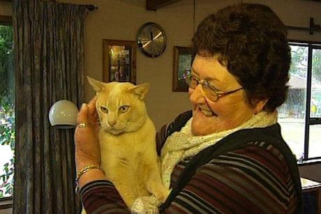 Bekkum the cat and owner Gaynor Crabbe