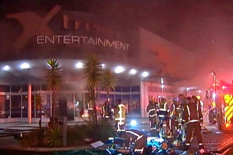 Firefighters at the Xtreme Entertainment complex
