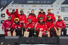 CAMPER with Emirates Team New Zealand on stage in Lorient after CAMPER take second in leg eight (Photosport)