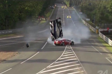 Anthony Davison's exit at Le Mans, after his Toyota clipped a Ferrari