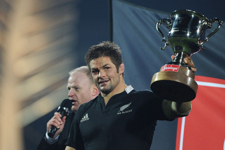 Richie McCaw with the Steinlager trophy during the 2nd Rugby Union test match, New Zealand All Blacks v Ireland at AMI Stadium (Photosport)