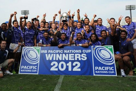 Samoa celebrate their win (file)
