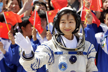 Liu Yang, China's first female astronaut, during the departure ceremony (Reuters)