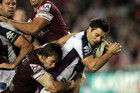 Cooper Cronk (right) of the Storm during the Round 15 NRL match (AAP ONE)