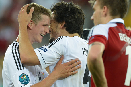 Germany's Lars Bender (left) celebrates with Mats Hummels following their win over Denmark (AAP ONE)
