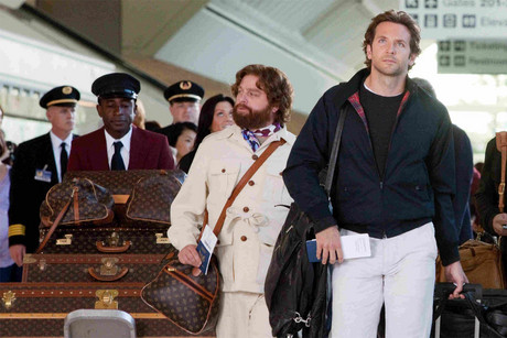 Zach Galifinakis with the bag in question