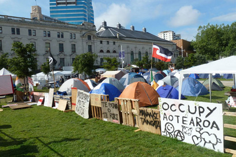 The Occupy Auckland camp in Aotea square before it was evicted (file)
