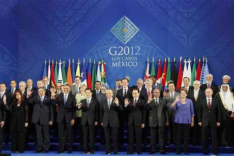 Leaders of the G20 nations gather for a group photo at the G20 Summit in Los Cabos, Mexico (Reuters)
