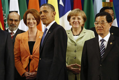 World leaders of the G20 nations gather for a group photo at the G20 Summit in Los Cabos, Mexico (Reuters)