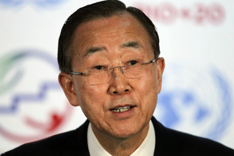 UN General Secretary Ban Ki-moon marks the inauguration of the UN Conference for Sustainable Development Rio+20 (AAP)