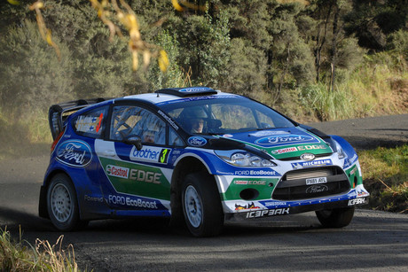 Jari-Matti Latvala and co-driver Miikka Anttila driving the Ford Fiesta today (Photosport)