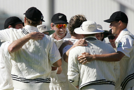 The BlackCaps celebrate a wicket on Eden Park (Photosport file)