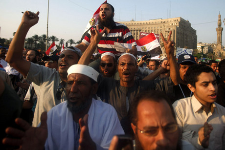 Protesters demonstrate at Tahrir Square in Cairo