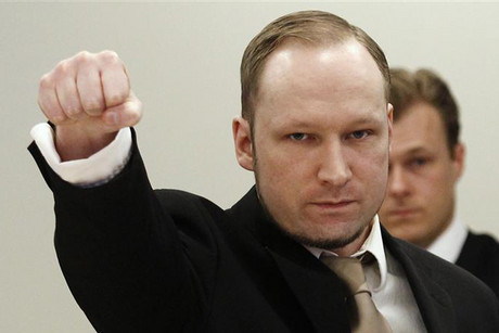 Anders Breivik gives the far-right salute  (Photo: Reuters)