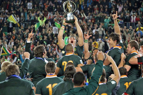 South Africa players celebrate during the trophy presentation