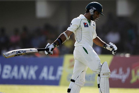 Pakistan's Taufeeq Umar after being dismissed (Reuters)