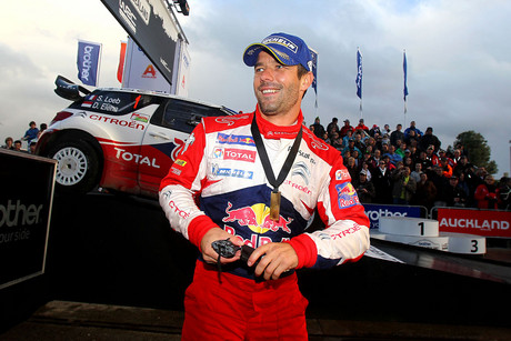 Sebastien Loeb (FRA) all smiles after winning his 72nd world rally championship victory during Day Three of the Brother Rally New Zealand (Photosport)