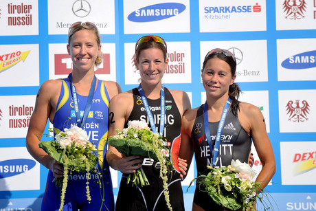 Sweden's Lisa North (L), Switzeland's Nicola Spirig (C) and NZ's Andrea Hewitt (R) (Photosport)