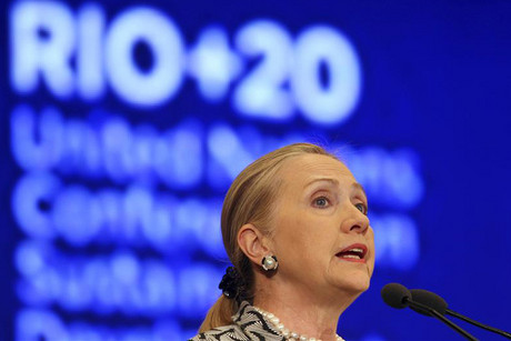 US Secretary of State Hillary Clinton speaks at the plenary of the Rio+20 United Nations Conference (Reuters)