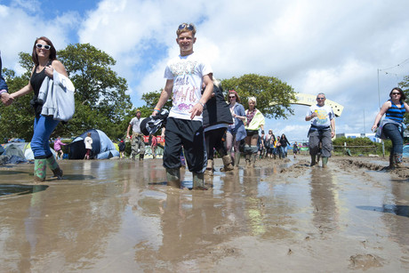 The muddy 2012 Isle of Wight festival (AAP)