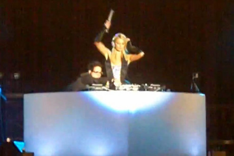 Paris Hilton DJing at the Pop Music Festival in Sao Paulo